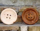 Large 8.5 Inch Wooden Button - Pottery Barn Style Wall Decor - Huge Wood Button with Flat Center - Wood Button - Big Button