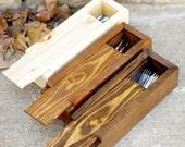 Art Box - Paint Brush Box -  Large Pencil Box -  Craft Supplies Organizer Box - Silverware Storage