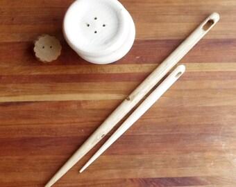 """Large Wooden Needle - 10"""" Sewing Needle - Big Stitch Wood Needle"""