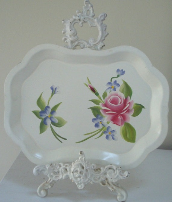 WHITE TOLE TRAY -Roses Hand Painted Floral Tray-Toleware Metal Cottage Chic