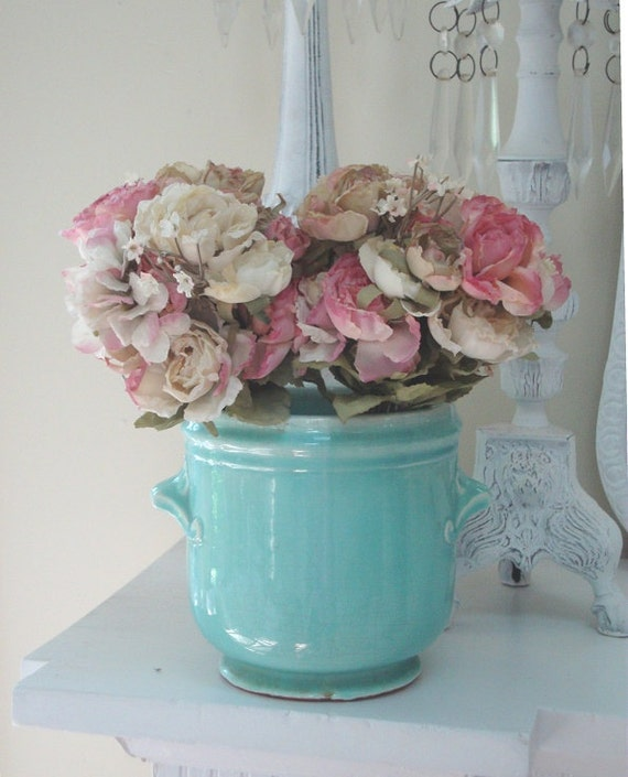 Vintage AQUA FLOWER Cache POT - Ceramic Planter - Art Pottery Glazed