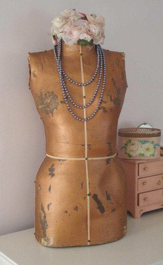 Vintage MANNEQUIN DRESS FORM - Gold Torso Body Shape