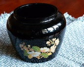 BLACK FRIDAY Etsy - VINTAGE Avon Ginger Jar, Black Amethyst, Floral Decal, ooak - MercysVintageHome