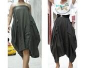 linen maxi skirt pleated skirt long skirt Irregular skirt blue black dress bud dress large pocket