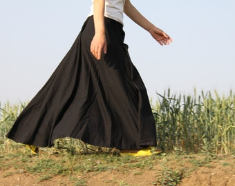 linen skirt pleated skirt long skirt