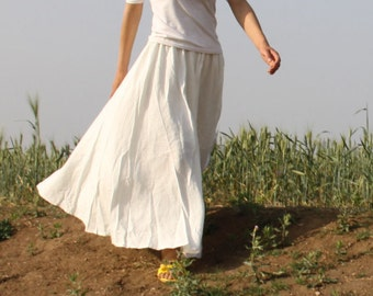 cotton skirt linen skirt pleated skirt long skirt summer skirt