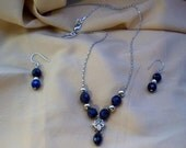 Indigo Blue and Silver Necklace and Earring Set