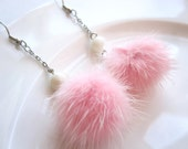 Fluffy Pink Ball and White Vintage Stone with Silver Chain Pierced Earring - Free Shipping in the US
