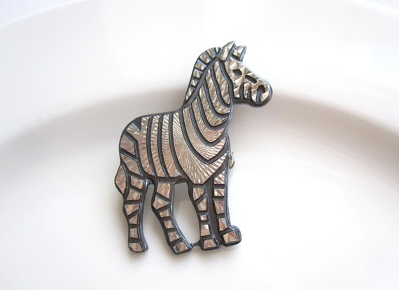 Vintage Zebra Geometrical Figured Mirror Pin Brooch- Blue - Free Shipping in the US
