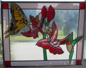 Orchids hummingbird and Butterfly Modern Stained Glass Sun Catcher