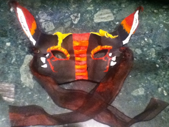Red and Black Long-Eared Dragon Mask