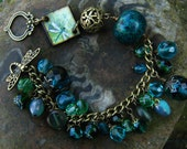 The Dragonfly Pool - Bracelet with Chrysocolla Lapis and Antique Bronze