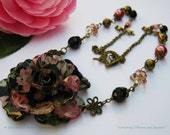 Summer Soiree - Floral Statement Necklace with Matching Earrings Vintage Style