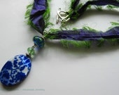 Green Tea Recycled Sari Silk Necklace