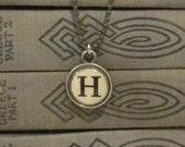 Initial H Charm Necklace, Vintage Style Typewriter Key Charm, Mini Initial Charm Necklace, Letter H on Ball Chain