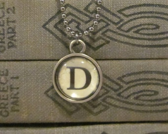 Initial D Charm Necklace, Vintage Style Typewriter Key Charm, Mini Initial Charm Necklace, Letter D on Ball Chain