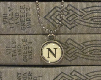 Initial N Charm Necklace, Vintage Style Typewriter Key Charm, Mini Initial Charm Necklace, Letter N on Ball Chain