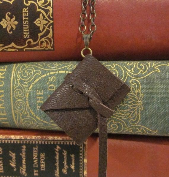 Dark Brown Leather Book Necklace