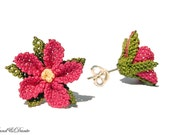 RESERVED for Funda - Fuchsia flower earring, ruby pink earring, spring flower, crocheted lace, silver