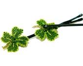 Crochet clover hair clips, Turkish lace, good luck gift, four leaf clover hair pins, handmade, boho girl bobby pins