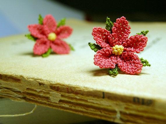 Coral red flower earrings, vintage style lace jewelry, terracotta red, fiber art rust crochet earrings