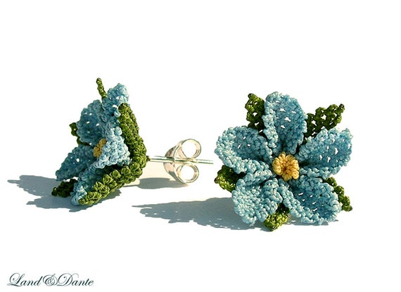 Lace earrings. Mystic blue. Light sky blue flower earring studs. soft baby blue lace earring. TAGT