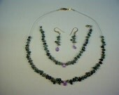 Emerald and Pink Saphire, and Emerald and Amethyist Necklace, Bracelet and Earrings Original Design Compiltaions