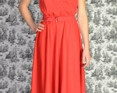 Vintage Red Maxi Dress with Mesh Insert and Belt