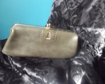 Moss Green Vintage leather clutch