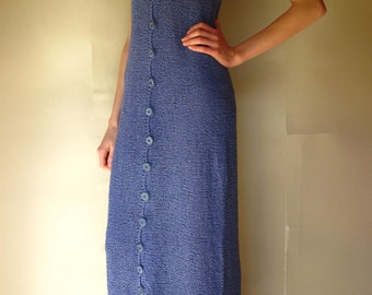 Long Dress Unbutton Very Long Cotton with Viscose Handknitted