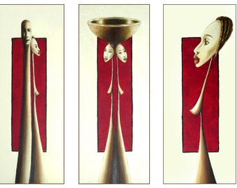 Original Painting Set, African Style, Red Painting, African Woman Art, Surreal Painting on Canvas, Figure Painting, Triptych, Ethnic Art