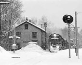 Pan Am Railway Symbol Freight EDRU, East Kingston, New Hampshire, Winter 2009, Signed Fine Art Black-and-White Photograph, Framed