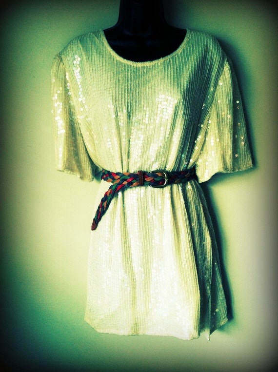 Vintage Ivory Sequin Tunic/Dress