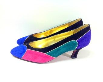 8 Color Block Leather Pumps - Green Magenta Cobalt Blue GEO Suede Heels 8