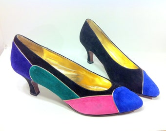SALE Color Block Leather Pumps 8 - Green Magenta Cobalt Blue GEO Suede Heels 8