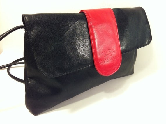 RESERVED RESERVED RESERVED Cherry Red Black Leather Crossbody Bag - Vintage Perry Ellis America