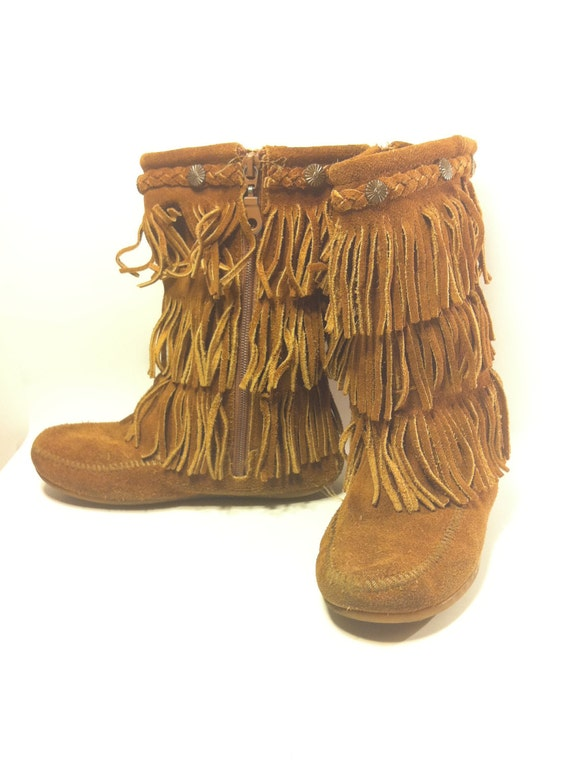 RESERVED Chestnut Minnetonka Moc Boots Fringed Leather Suede  - Kids 2