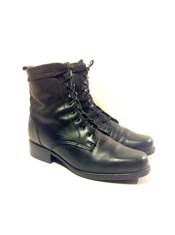 Black Leather Lace Up Roper Riding Boots 7 Grunge Santana