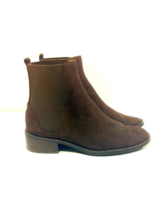 Espresso Leather Chelsea Riding Ankle Boots 7.5