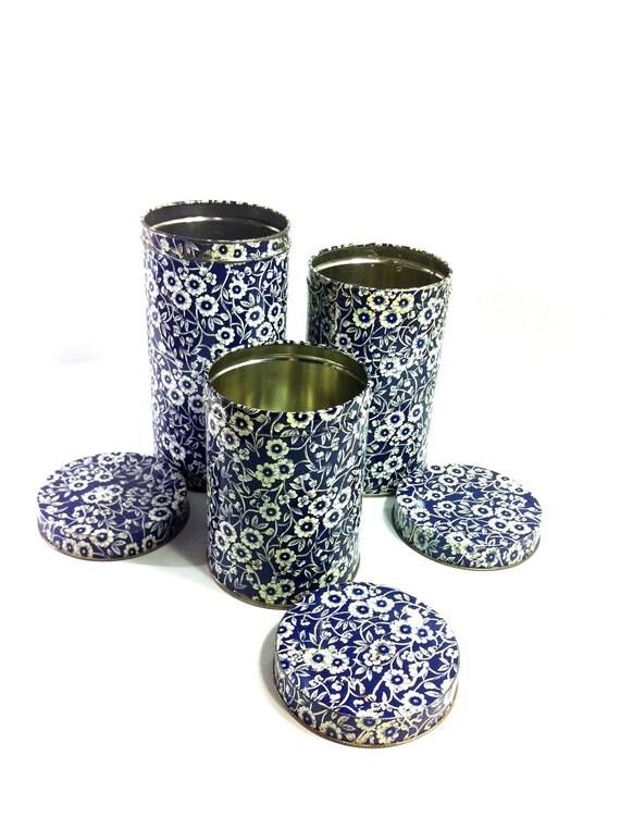 Midcentury Cobalt Blue Floral Tin Set - 1960s Blossom Kitchen Tins