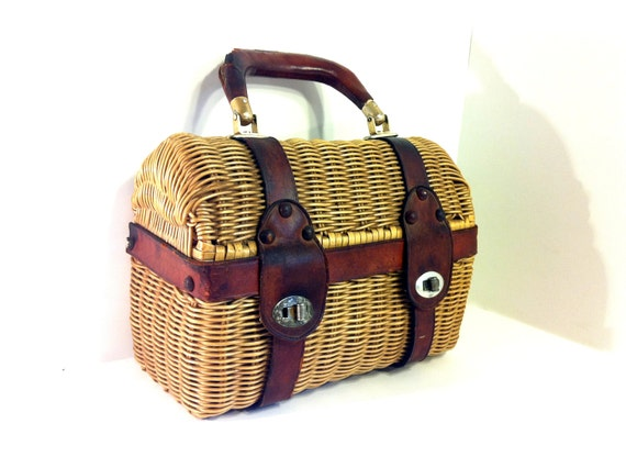 Structured Leather Basket Bag - Wicker Doctor Hand Bag
