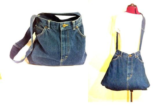Oversized Denim Crossbody Bag - Blue Jean Bucket Bag Tote
