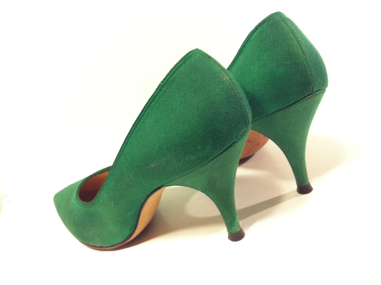 Forest Green Pumps Womens Green High Heels Size 7