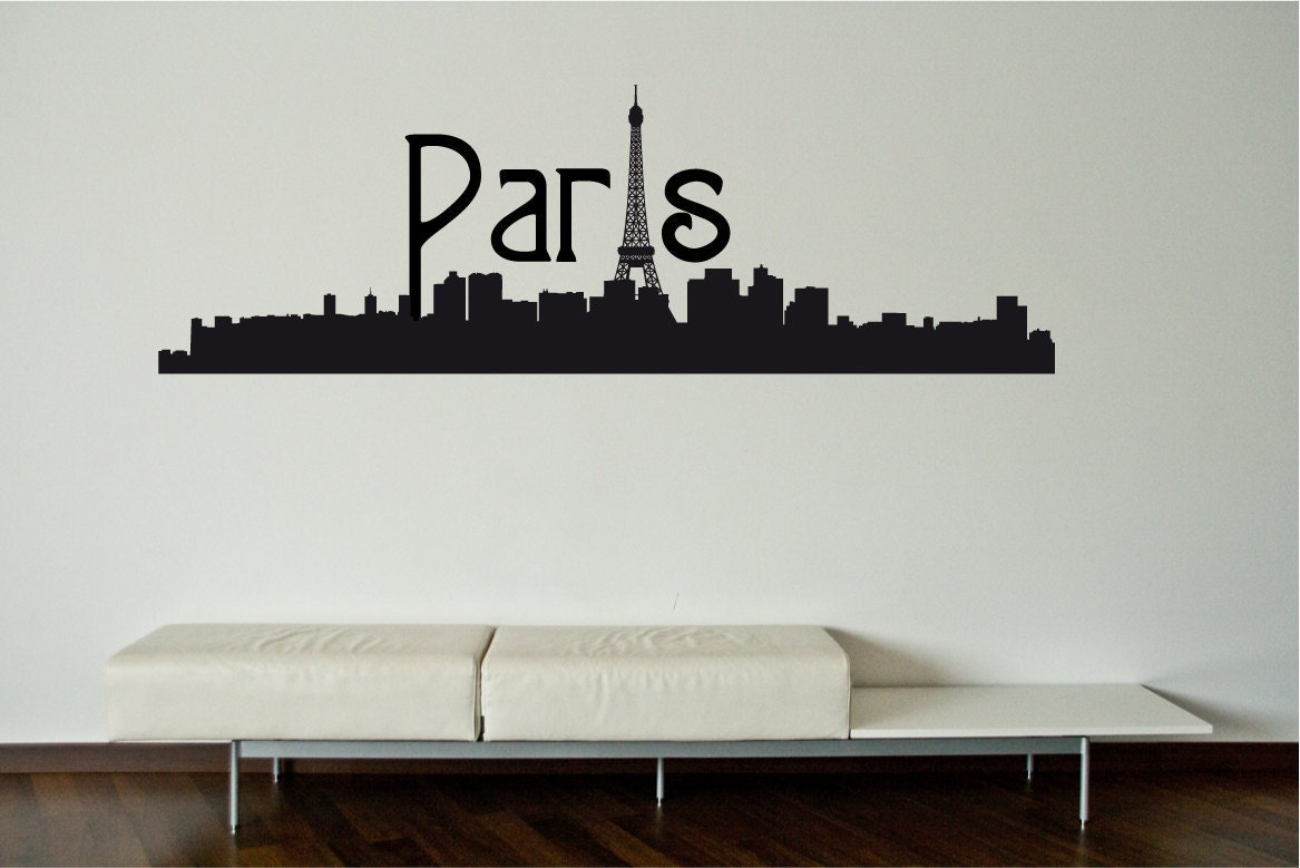 paris skyline wall decal wall sticker by decoryourwall special order for maria by decoryourwall on etsy