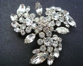 Antique Sherman Brooch -Multi Height - Clear Diamante Rhinestones - Various Cut Stones - Signed