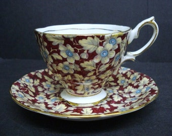 Pretty Vintage CUP  and  SAUCER - BROCADE - Chintz -  Shabby Chic - by Royal Albert Crown China Made in England