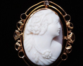 PRECIOUS  Cameo Brooch Angelic Face and Profile Antique