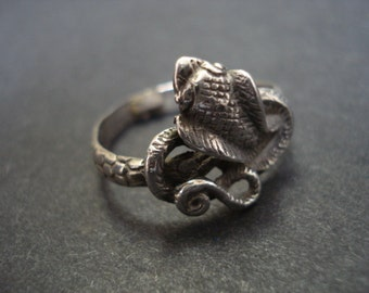 Impressive STERLING SILVER RING - Serpent  - Great Detail - Collectable Serpent  - Good Luck Serpent