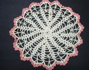 VINTAGE LACE DOILY - Hand Crochet - Pretty Pink Border