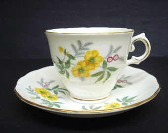MARVELOUS  CUP and SAUCER  - Vintage Cup and Saucer Set  - Royal Vale Bone China - Made in England  Floral   Decoration